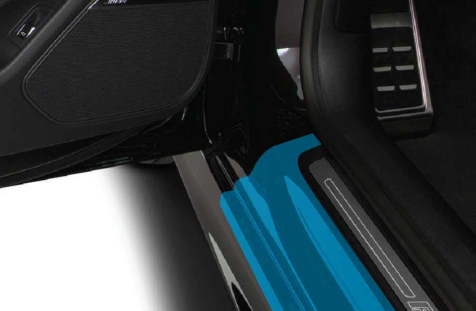 Graphic of door sills paint protection