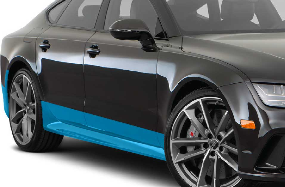 Graphic of rocker panels paint protection